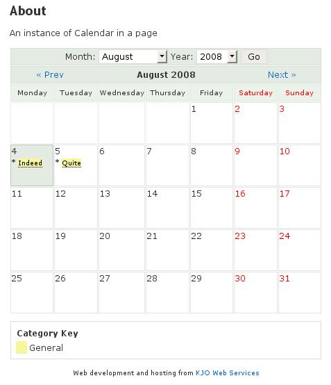 A Screenshot of our Website Calendar APP