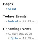 A sample Screenshot of our Calendar APP widget panel
